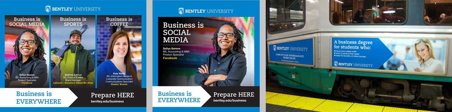 Bentley University Business Is Everywhere MBTA ads large