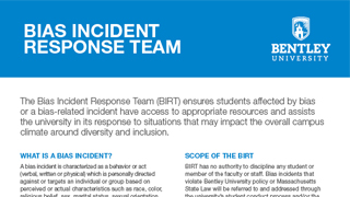 Bentley University Biased Incident Response Team Handout thumb