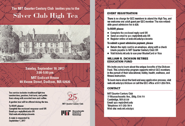 MIT Quarter Century Club High Tea 2017 invite large