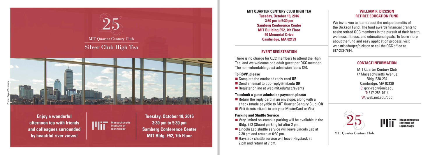 MIT Quarter Century Club High Tea 2016 invite large