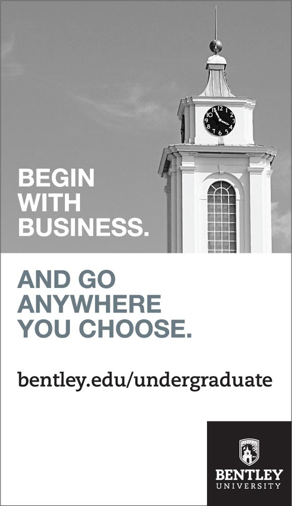 Bentley University Ron Burton quarter page ad large